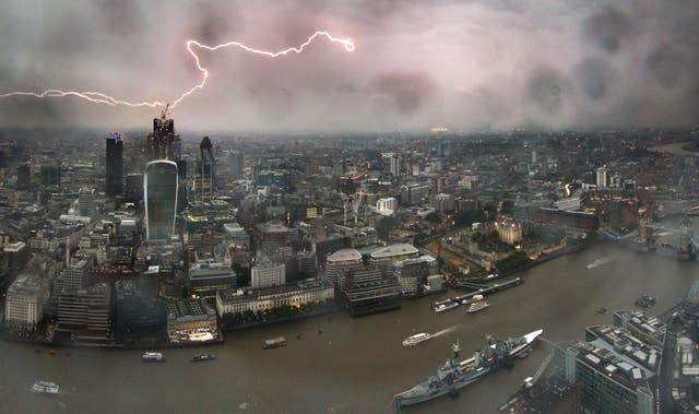 Lightning above Central London as seen from The View From The Shard