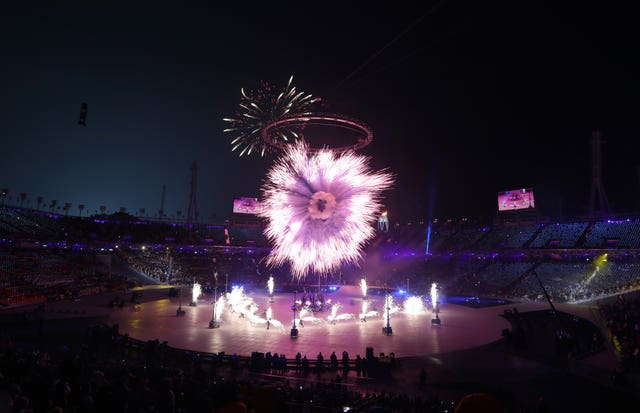 Fireworks are set off as the Olympic torch is lit during the opening ceremony of the Pyeongchang 2018 Winter Olympic Games