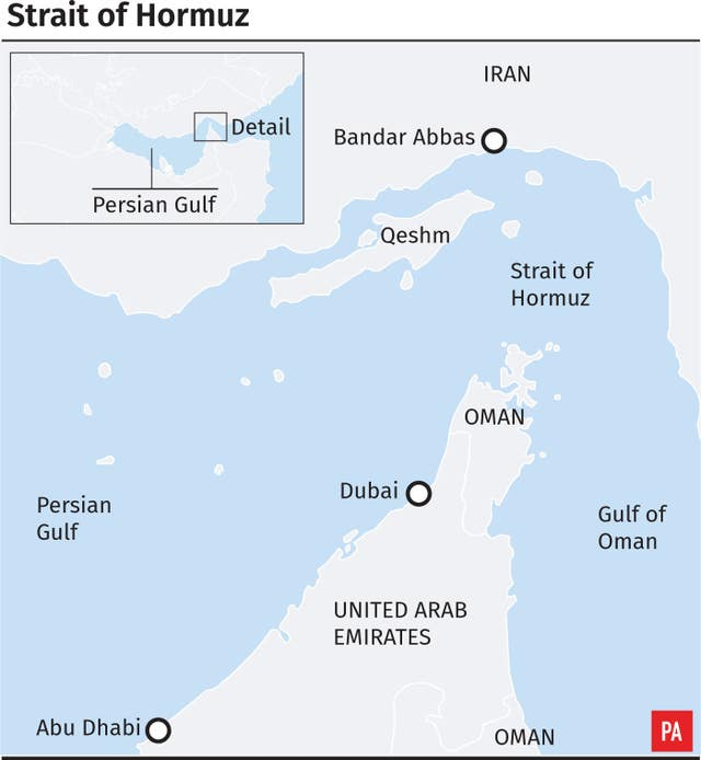 Graphic locates the Strait of Hormuz