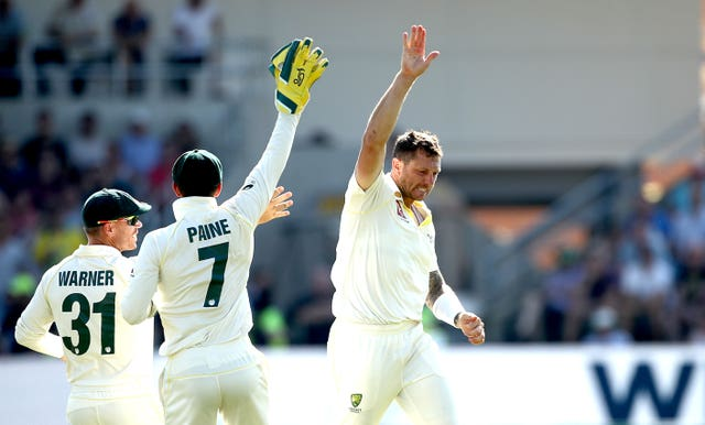 James Pattinson celebrates the wicket of Stuart Broad