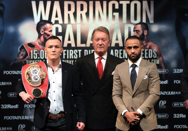 Warrington, left, will defend his IBF featherweight title against Kid Galahad, right, in June (Simon Cooper/PA)
