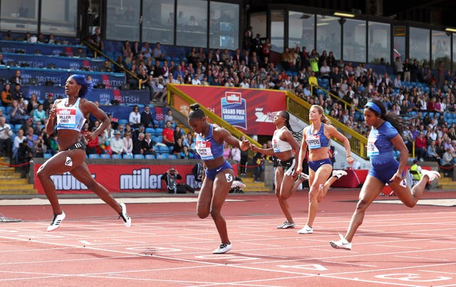 Dina Asher-Smith came second to Shaunae Miller-Uibo, left, in the 200m women's final in Birmingham