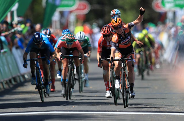 Amy Pieters celebrates winning stage six of the OVO Energy Women's Tour as Lizzie Deignan was crowned overall winner