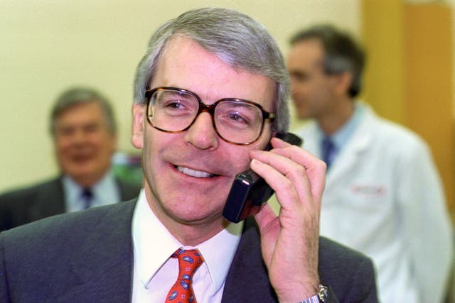 John Major using a mobile phone in 1991