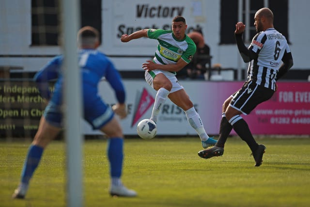 Courtney Duffus takes a shot during a match against Chorley
