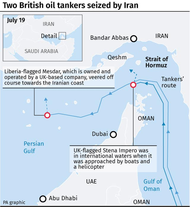 Map locates where two British oil tankers were seized by Iran