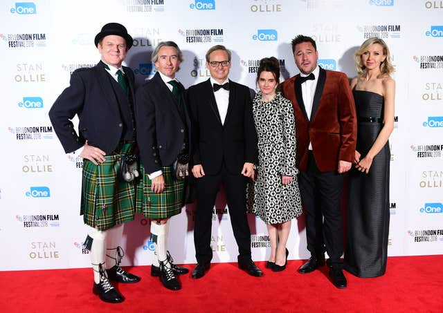 Reilly, Coogan and Baird, alongside Shirley Henderson, Rufus Jones and Nina Arianda at the Stan & Ollie Premiere (Ian West/PA)