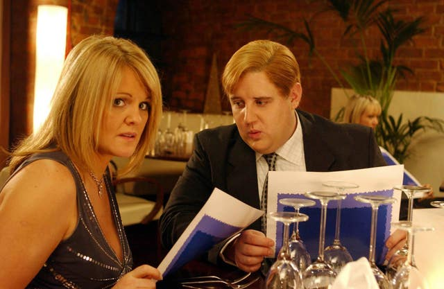 Comic Peter Kay taking Rovers landlady Shelley, played by Sally Lindsay, on a date from hell in Coronation Street (Granada TV/Handout)