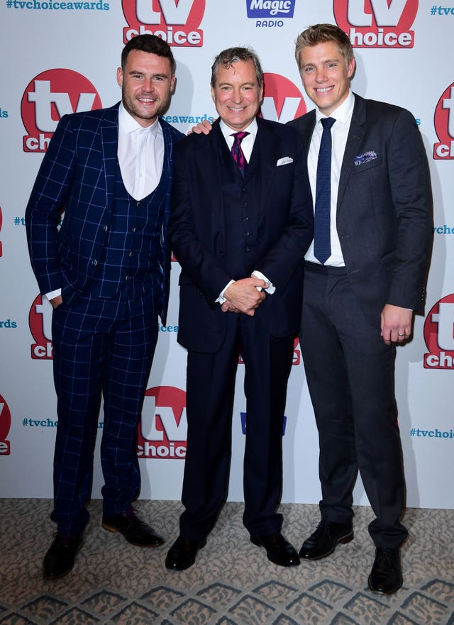 Danny Miller and Ryan Hawley with John Middleton attending the TV Choice Awards 2017  (Ian West/PA)