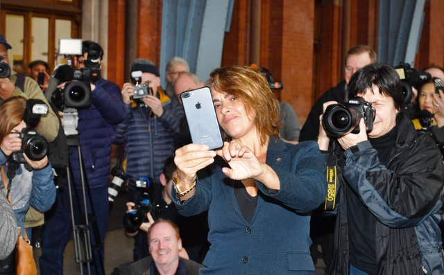 Tracey Emin takes a selfie with the media (PA)