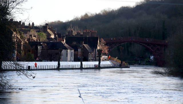 Flood defences have been installed in Ironbridge, Shropshire