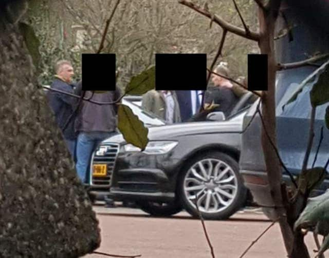 Surveillance image of GRU officers being apprehended by Dutch intelligence officers