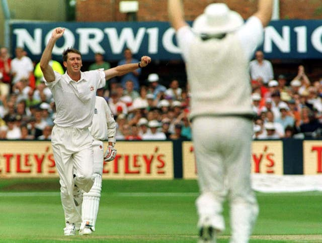 Glenn McGrath had England captain Michael Atherton caught behind on the way to Australia clinching the win by an innings and 61 runs in 1997