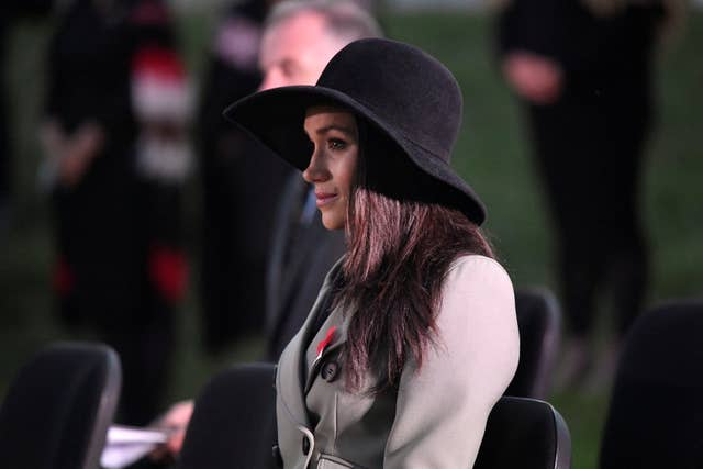 Ms Markle appeared close to tears at moments during the emotional service (Toby Melville/PA)