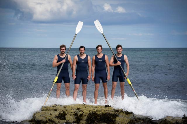 Dicky Taylor, Peter Robinson, Stuart Watts and George Biggar in training ahead of the Talisker Whisky Atlantic Challenge (Hank Jansen / PA Wire)