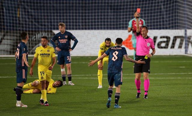 Arsenal were reduced to 10 men when Dani Ceballos was sent off
