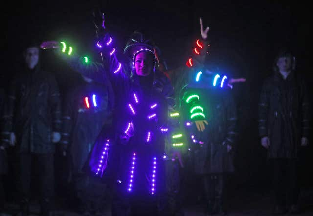 LED outfits glow in Tom Duffy's Circus (Niall Carson/PA)