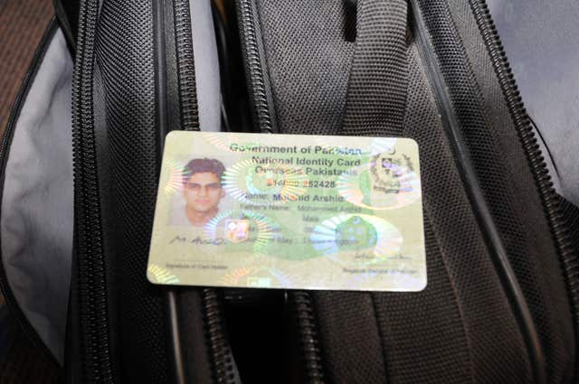 A Government of Pakistan National Identity card in name of Mujahid Arshid, which was shown to the jury (Met Police/PA)