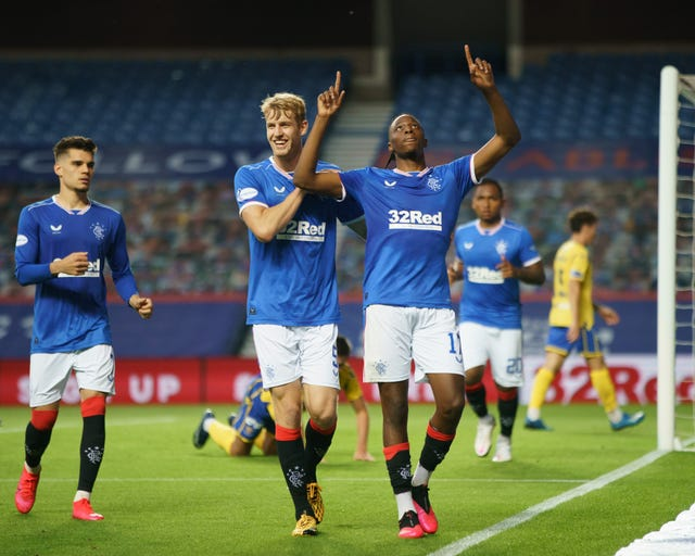 Joe Aribo of Rangers celebrates his goal against St Johnstone