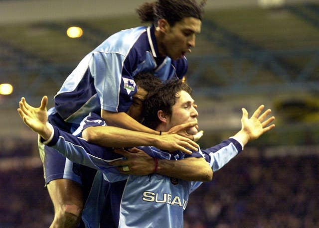 Coventry City's Robbie Keane celebrates scoring his side's third goal