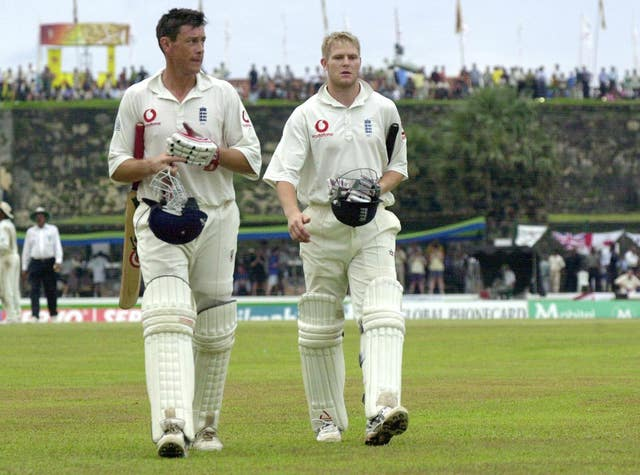 Last-wicket pair Ashley Giles, left, and Matthew Hoggard helped England to a draw in 2003 (Gareth Fuller/PA)