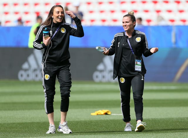 Weir, left, and team-mate Jo Love in high spirits ahead of the clash with England