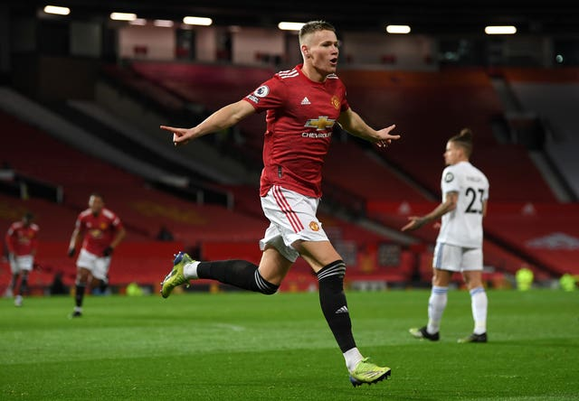 Scott McTominay celebrates against Leeds
