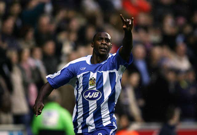 Wigan Athletic's Jason Roberts celebrates his first goal