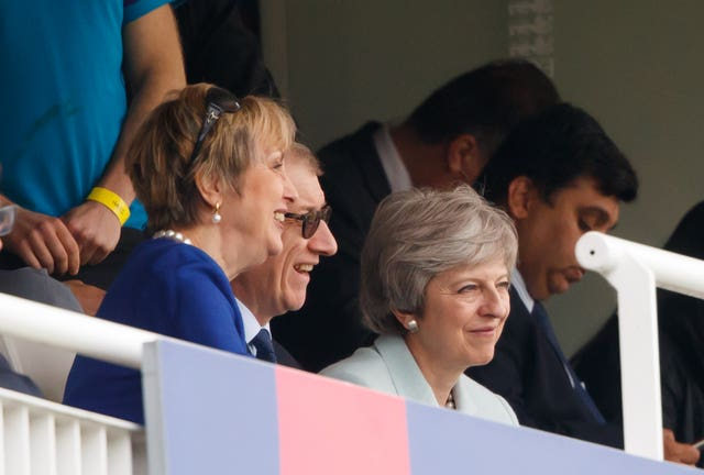 Theresa May said she would have liked to have seen more Pakistan wickets fall as England struggled on day two at Lord's (John Walton/PA)