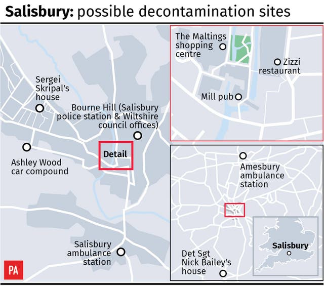 Salisbury: possible decontamination sites.