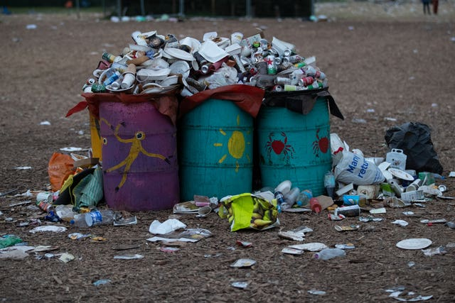 Rubbish left behind at the Glastonbury Festival