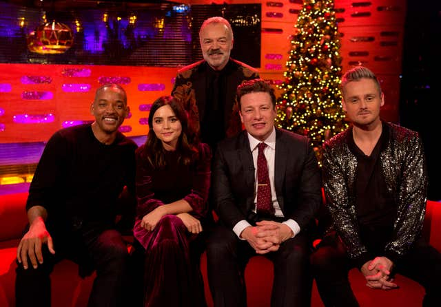 Will Smith, Jenna Coleman, Jamie Oliver and Tom Chaplin with Graham Norton (Isabel Infantes/PA)