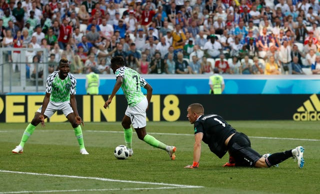 Ahmed Musa scores his second goal of the game