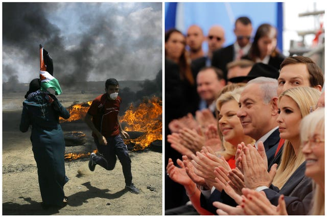 Palestinians protest near the border of Israel and the Gaza Strip, left, and on the same day dignitaries mark the opening of the new US embassy