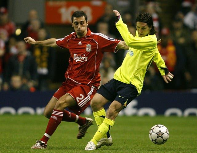 Lionel Messi takes on Liverpool's Alvaro Arbeloa in 2007