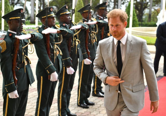 The Duke of Sussex arrives at the presidential palace in Luanda, Angola on day six of the royal tour of Africa