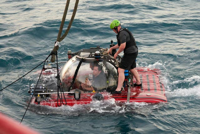 A submersible launched from the Ocean Zephyr