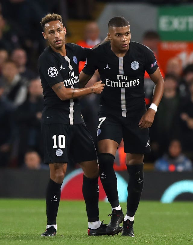 Neymar, left, and Kylian Mbappe