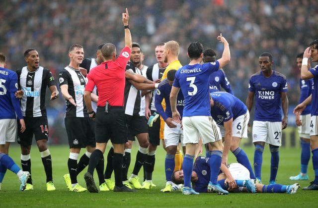 Isaac Hayden was sent off as Newcastle were hammered by Leicester