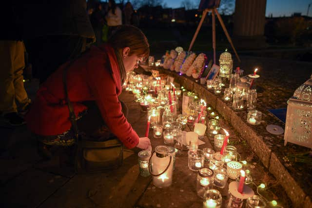 A candlelight vigil held for Gaia Pope in the Prince Albert Gardens in Swanage, Dorset