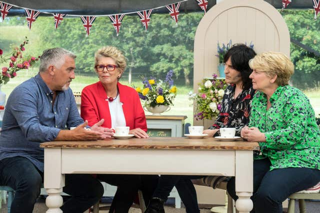 The judges and presenters for The Great British Bake Off (Channel 4)