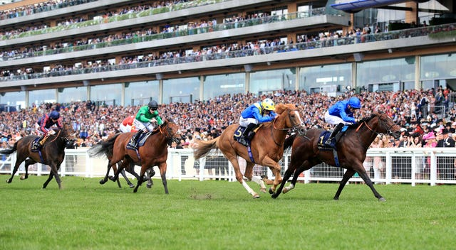 Dream Of Dreams, yellow cap, just fails to reel in Blue Point in the Diamond Jubilee Stakes at Royal Ascot will bid for compensation in the Darley July Cup (Adam Davy/PA)