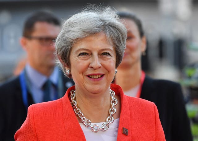 Theresa May arriving at the EU summit in Salzburg