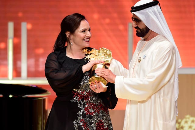 Andria Zafirakou, London teacher, won the last Varkey Foundation Global Teacher Prize (Varkey Foundation/PA)