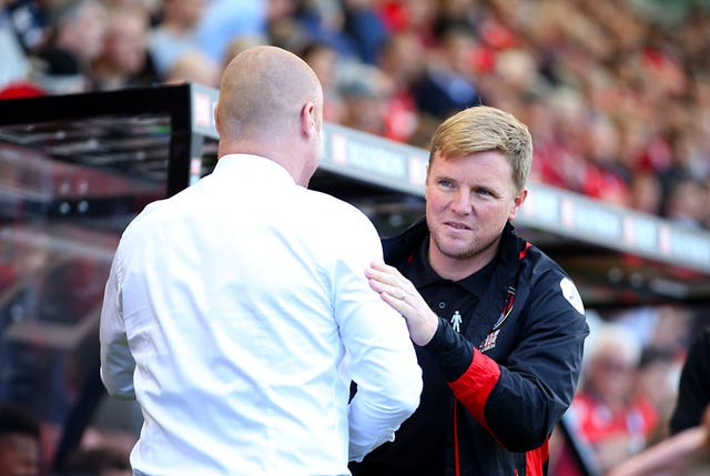 Burnley manager Sean Dyche (left) and AFC Bournemouth manager Eddie Howe shake hands before the Premier League match at the Vitality Stadium, Bournemouth