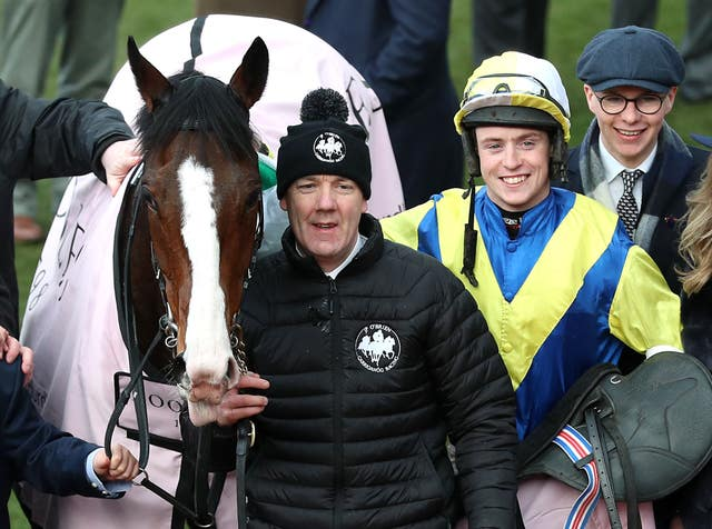 Trainer Joseph O'Brien (right) with his first Cheltenham Festival winner, Band Of Outlaws