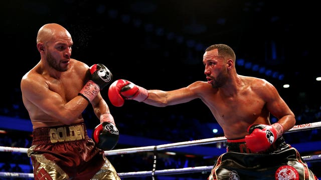 James DeGale, right, in action against Caleb Truax