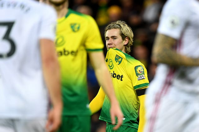 There was more agony for Norwich's Todd Cantwell as the Premier League strugglers lost at home to Sheffield United