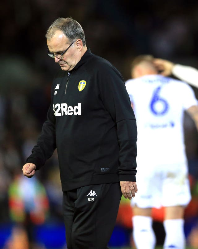 Leeds manager Marcelo Bielsa is dejected after defeat to Derby