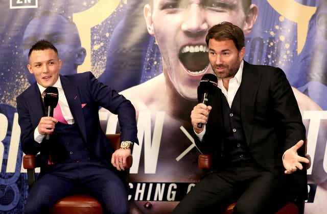 Eddie Hearn, right, has Warrington on course for a unification fight at Headingley